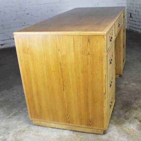 Campaign Style Founders Furniture Light Oak Desk with Brass Plate Accent and Hardware