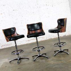 Vintage Modern Daystrom Adjustable Black Bar Stools Molded Curved Backs Set 3