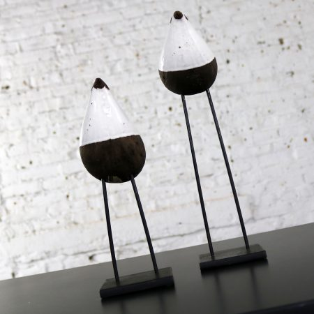 Aldo Londi Bird on Stand by Bitossi for Rosenthal-Netter Vintage Mid Century Modern Pair