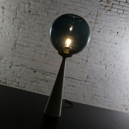 Mid Century Modern Conical Table Lamp with Glass Ball Globe after Ponti or Curry