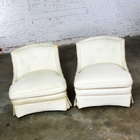 Pair of Art Deco Hollywood Regency Slipper Chairs-Frames Only