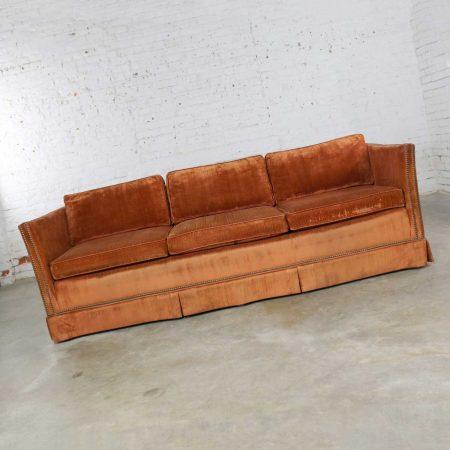 Mid Century Hollywood Regency Burnt Orange Velvet Tuxedo Sofa Bronzetone Nailheads