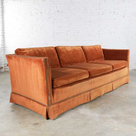 Mid Century Hollywood Regency Burnt Orange Velvet Tuxedo Sofa Bronzetone Nailheads
