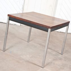 Mid Century Modern Rosewood Ebony Chrome Milo Baughman or Knoll-Style End Table