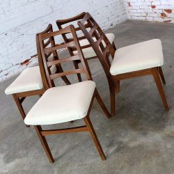 Rosewood Ladderback Dining Chairs Vintage Mid Century Modern Set of Four