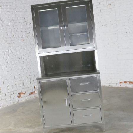 Vintage Stainless Steel Cupboard Industrial Medical Step Back Cabinet-2