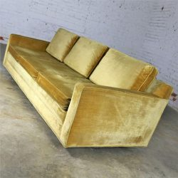Gold Velvet Lawson Style Three Cushion Sofa Vintage Mid Century Modern