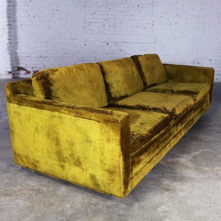 Green Velvet Lawson Style Three Cushion Sofa Vintage Mid Century Modern