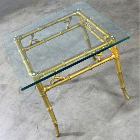 Phyllis Morris Style Gilt Faux Bamboo and Glass Side Table Vintage Hollywood Regency