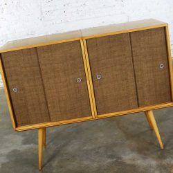 Paul McCobb Planner Group Pair Sliding Door Cabinets on Bench Platform Mid Century