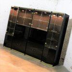 Italian Black Laminate Glass and Brass 4 Piece Modular Freestanding Wall Unit Display Cabinet