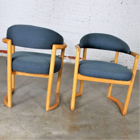 Pair Scandinavian Style Bentwood Oak Arm Chairs with Blue Upholstery Vintage Modern