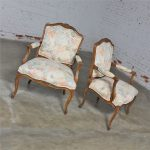 Pair of Louis XV Style French Country Fauteuil Armchairs by Heritage Furniture