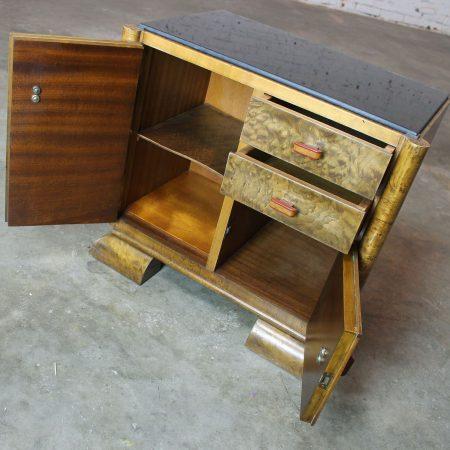 Petit Art Deco Burlwood Side Cabinet with Black Glass Top & Bakelite Handles