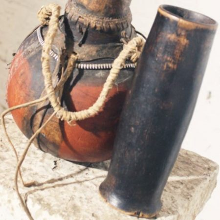Vintage African Tribal Wood and Leather Water / Milk Jug with Wood Cup