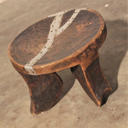 Antique Hand Carved African Three-Legged Wooden Stool