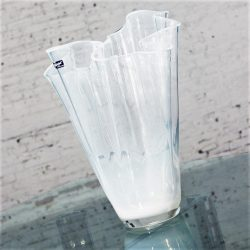 Alicja White Opalescent Glass Large 16″ Handkerchief Vase Poland