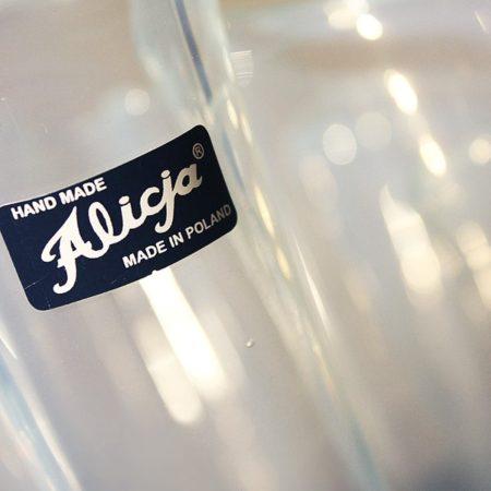 "Alicja White Opalescent Glass Large 16"" Handkerchief Vase Poland"