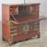Vintage Korean Campaign Style Secrétaire Cabinet Drop Front Desk