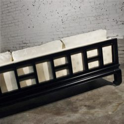 Asian Inspired Black Lacquer Sofa Attributed to Michael Taylor for Baker