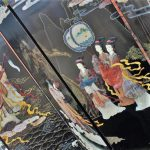 Vintage Asian 6 Panel Ebony Lacquer Folding Screen with Hardstone Carvings