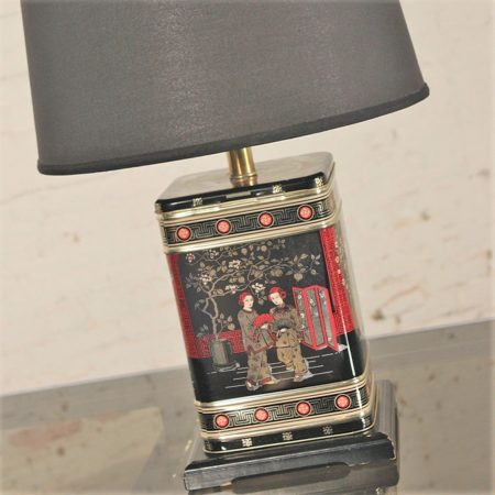 Vintage Chinoiserie Tea Tin Canister Table Lamp Black with Black Shade