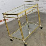 Vintage Brass, Chrome and Glass Double Tier Serving Tea or Bar Cart