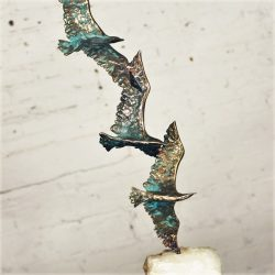 Mid Century Curtis Jere Bronze Sculpture 3 Birds in Flight