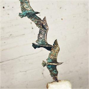 Mid Century Curtis Jere Bronze Sculpture 3 Birds in Flight