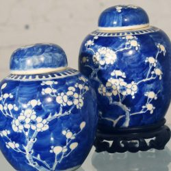 Pair Antique Chinese Blue and White Porcelain Ginger Jars and Covers