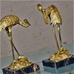 Vintage Pair Brass Cranes on Black Marble Bases