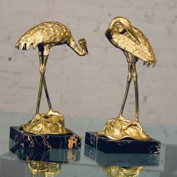 Vintage Pair Brass Cranes on Black Marble Bases