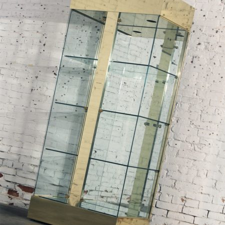 Vintage Modern Brass and Glass Lighted Display Vitrine Cabinet