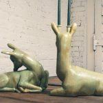 Mid Century Modern Ceramic Deer Centerpiece Candleholder