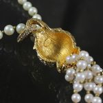 Magnificent Vintage CADORO © Faux Pearl & Rhinestone Tassel Choker Necklace