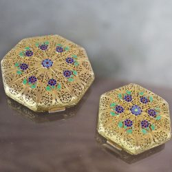 Pair Vintage Octagon Compacts Vermeil Filigree Hallmarked with Enameled Flower Applique