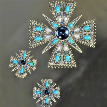 Vintage Signed ART© Maltese Cross Brooch & Earrings Demiparure Set Silvertone Turquoise & Blue