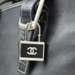 Chanel Black and Silvertone Padlock Keychain or Necklace Pendant/Purse Charm