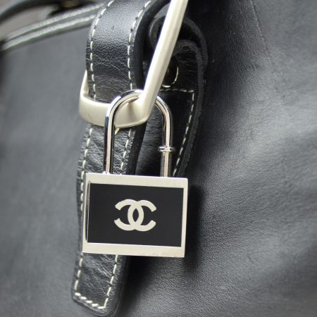 Chanel Black and Silvertone Padlock Keychain or Necklace Pe