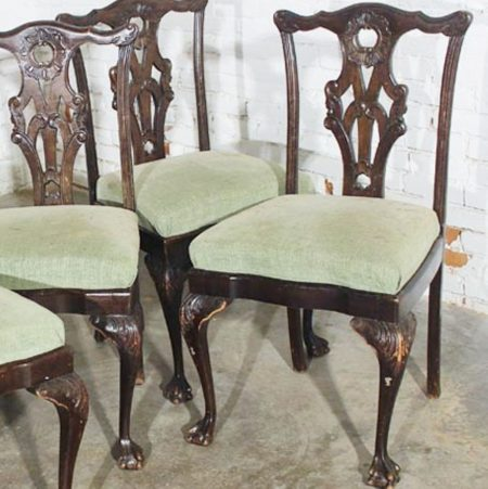 Antique Chinese Chippendale Dining Side Chairs, Set of 6