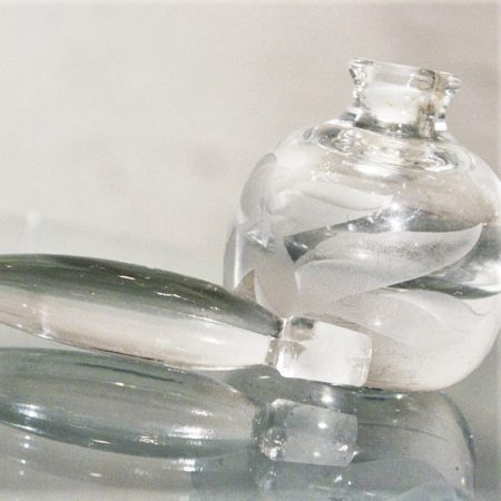 Vintage Crystal Perfume Bottle and Stopper with Etched Floral Design
