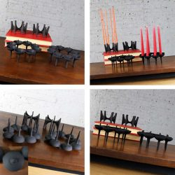 ADJUST PHOTOS & RELIST-Dansk Black Iron Candle Holders by Borje Rajalin Two Pair