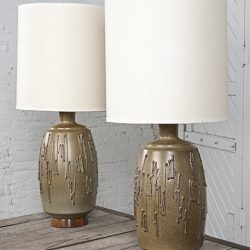 Set of 1960s Barrel Shaped Pottery Lamps