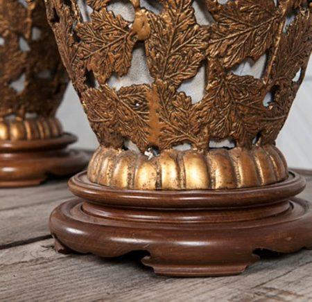 Gilded Metal Chrysanthemum Asian Lamps