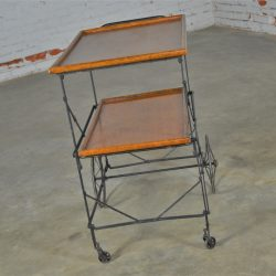 Antique Industrial Black Iron and Oak Folding and Rolling Tea or Bar Cart Hotel Serving Trolley