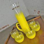 Vintage Mid Century Modern Blendo Sunshine Yellow Cocktail Beverage Set