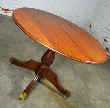 Classical Regency Carved Mahogany Round Tilt-Top Breakfast or Center Table