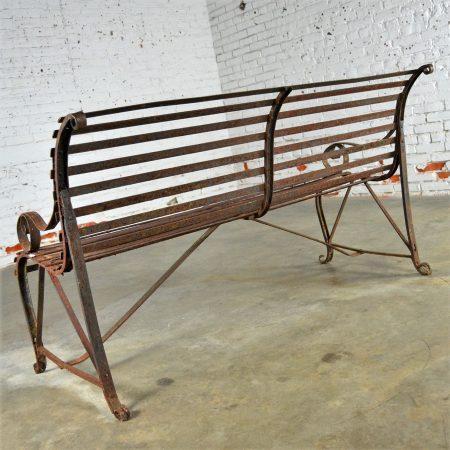 Antique 19th Century Forged Strap Iron Garden Bench