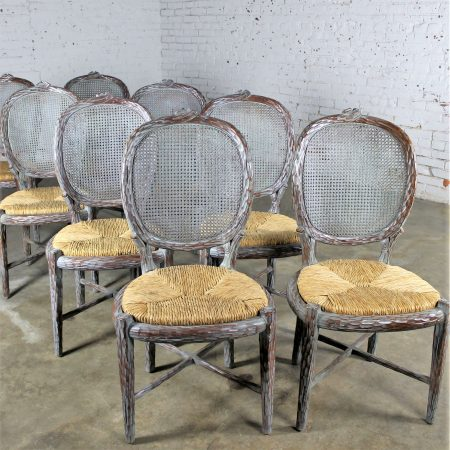 Vintage Faux Bois Carved Twig Dining Chairs Set of Eight with Caned Backs and Rush Seats