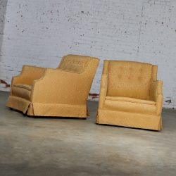 Mid Century Modern Pair Upholstered Club Chairs Frames Only